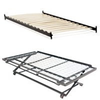 Emma Complete Metal Daybed with Euro Top Spring Support Frame and Pop-Up Trundle Bed, Antique White Finish, Twin