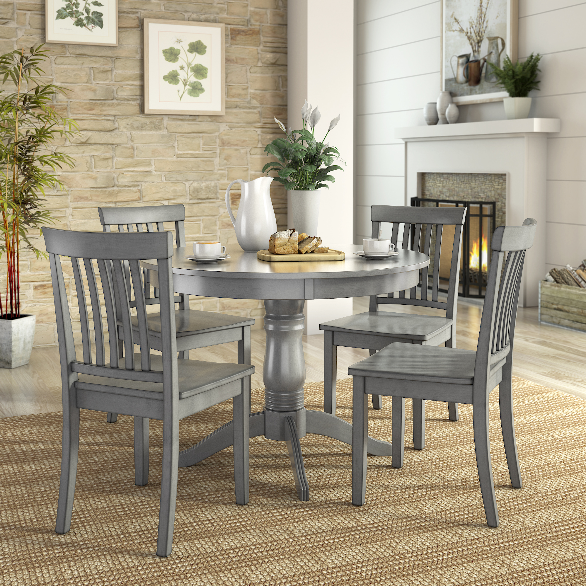 Lexington 5 Piece Dining Set With Round Table And 4 Mission Back Chairs