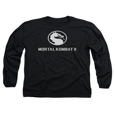 Mortal Kombat X Fighting Video Game Horizontal Dragon Logo Adult L-Sleeve TShirt