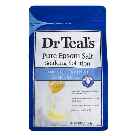 Dr Teal's Pure Epsom Salt Soaking Solution, Soften & Nourish with Milk & Honey, 3