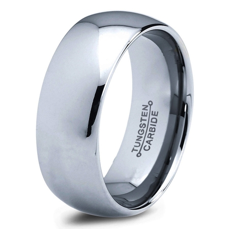 Tungsten Wedding Band Ring 8mm for Men Women Comfort Fit Domed Round Polished Lifetime Guarantee ()
