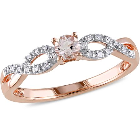 1/6 Carat T.G.W. Morganite and Diamond-Accent Rose-Plated Sterling Silver Infinity Ring