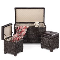 Gymax 3-Piece Bench Foot Rest Hassocks Rattan Stools Leather Ottoman Seating Storage