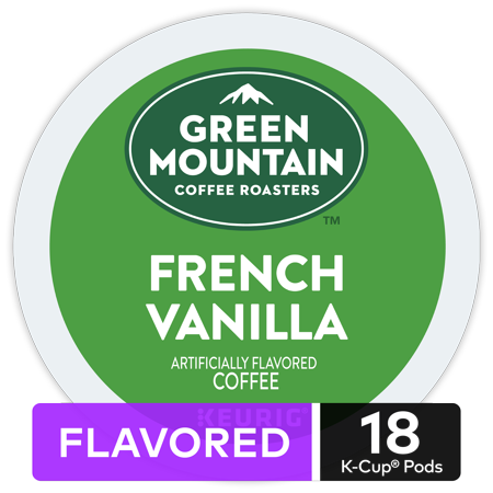 Green Mountain Coffee French Vanilla, Flavored Keurig K-Cup Pod, Light Roast, 18 Ct