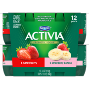 Activia Lowfat Strawberry/Strawberry Banana Probiotic Yogurt, 4 oz, 12 count
