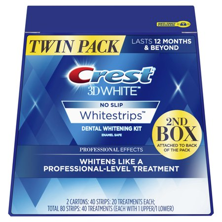 Crest 3D White Professional Effects Whitestrips Teeth Whitening Strips Kit, 40 Treatments, Twin - Dental Whitening Formula 40 Strips