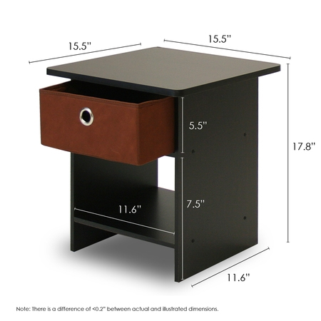 Furinno 10004 End Table/ Nightstand Storage Shelf with Bin Drawer 2 Drawer Square Nightstand