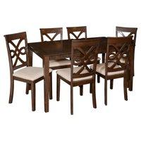 Powell Leighton 7 Piece Dining Set, Dark Smoked Espresso
