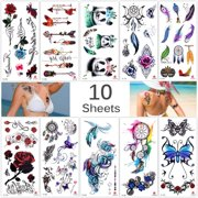 77b6efddb Lady Up 10 Sheets Temp Body Art Temporary Tattoos Fake Tattoo for Women Kids  Butterfly Flower