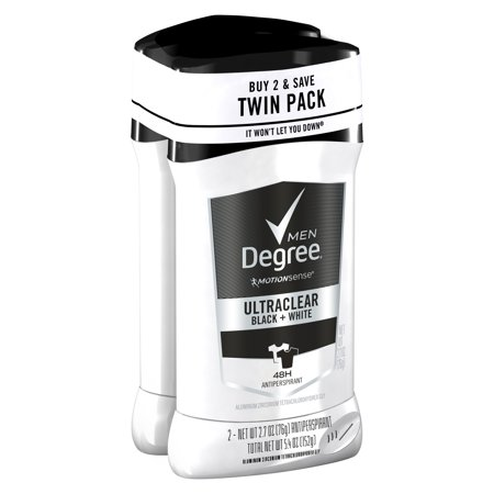 Degree Men UltraClear Black+White Antiperspirant Deodorant, 2.7 oz, Twin Pack