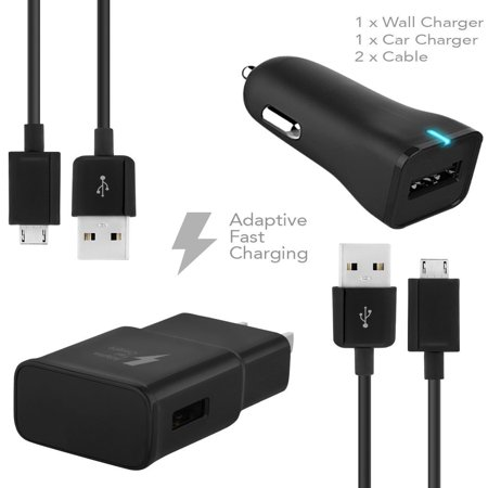 Motorola DROID Turbo Charger  Micro USB 2.0 Cable Kit by Ixir - {Wall Charger + Car Charger + 2 Cable} True Digital Adaptive Fast Charging uses dual voltages for up to 50% faster charging! (Motorola Roadster 2 Car Kit)