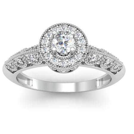 Dazzlingrock Collection 0.38 Carat (Ctw) 18k Round Diamond Bridal Halo Vintage Milgrain Engagement Ring, White Gold, Size 5 (Chaumet 18k Ring)