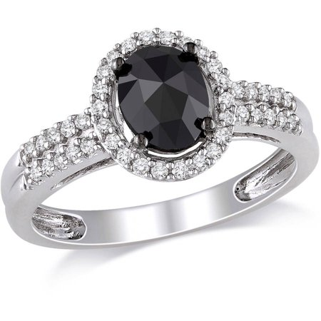 1 Carat T.W. Oval and Round-Cut Black and White Diamond 14kt White Gold Halo Engagement (1 Carat Black And White Diamond Ring)