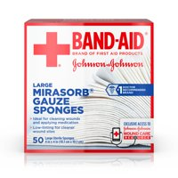 Band Aid Brand First Aid Mirasorb Gauze Sponges, 4 in x 4 in, 50 ct