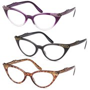 d17fad7c0b GAMMA RAY READERS 3 Pairs Ladies  Vintage Cat Eye Readers Quality Reading  Glasses for Women