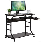 Best Choice Products 2-Tier Home Office Computer Laptop Desk Workstation w/ Locking Wheels, Pullout Keyboard Tray, Mouse Platform - Black