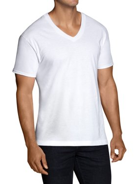Big Men's Dual Defense White V-Neck T-Shirts Extended Sizes, 5 Pack