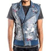 c77723cd0b2df Men s Designer Denim Blue Biker Rock Ripper Zip Up Vest w Patches Saki Wash  37058