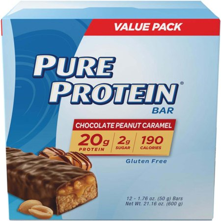Pure Protein Bar, Chocolate Peanut Caramel, 20g Protein, 12 Ct (Protein Shooters)