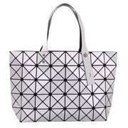 aba2a0560119 Silver Diamond Lattice Handbag for Women - Gloss Convertible Shoulder Tote  Bag with Adjustable Handles