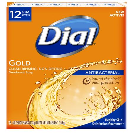 Dial Antibacterial Deodorant Bar Soap, Gold, 4 Ounce Bars, 12 Count