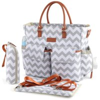 Kattee Chevron Diaper Bag Baby Nappy Tote Bag with Changing Pad & Bottle Holder Gray