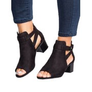 cd6c3edd63a Women Buckle Peep Toe Low Block Heel Ankle Booties Boots Sandals Shoes Size