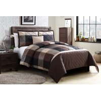 Better Homes and Gardens Elliot Plaid Soft Textured 4-Piece Duvet Set, King, Brown