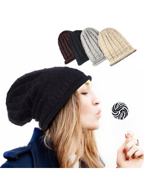 689f52bf1d7 Product Image Beanie Hat for Men and Women by Winter Oversized Triangle  Pattern Baggy Crochet Knit Cap Warm