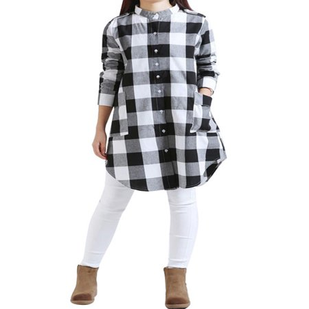 EFINNY Women's Plaid Cotton Linen Loose Casual Shirt Dress - Pocahontas Dress