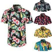 754c0b28c353c9 Urkutoba Men s Hawaiian Tropical Luau Aloha Beach Party Button Up Casual  Dress Shirt
