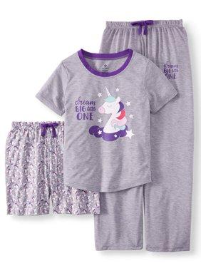 Girls' 3 Piece Pajama Sleep Set (Little Girl & Big Girl)