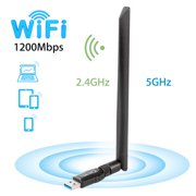 1200Mbps Wireless USB Wifi Adapter,TSV WiFi Adapter for Desktop/Laptop,802.11 ac/a/b/g/n,Dual Band 2.4GHz/300Mbps+5GHz/867Mbps,5 dBi High Gain Antenna WiFi Dongles,Support Windows XP/7/8/10/MAC/OSX