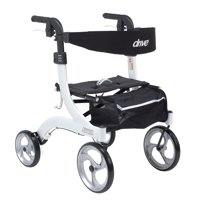 Drive Medical Nitro Euro Style Rollator Rolling Walker, Hemi Height, White