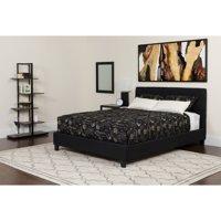 Flash Furniture Chelsea King Size Upholstered Platform Bed in Black Fabric