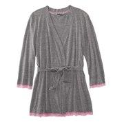 db46a85ca8 Joe Boxer Womens Grey Lacy Robe Tie Front Bathrobe Long Sleeve House Coat