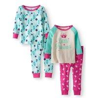 Wonder Nation Cotton Tight Fit Pajamas, 4-piece Set (Baby Girls)