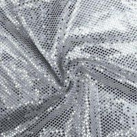 Faux Sequin Knit Fabric Shiny Dot Confetti for Sewing Costumes Apparel Crafts by the Yard (Silver)