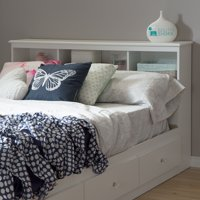 "Crystal Full Bookcase Headboard (54""), White"