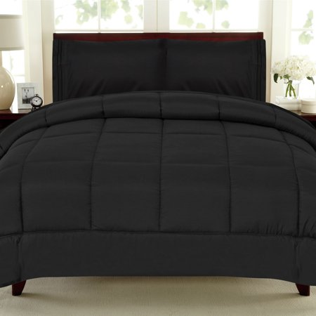 Croscill Queen Size Comforter - All Seasons Down Alternative Comforter Solid Color Box Stitch - King