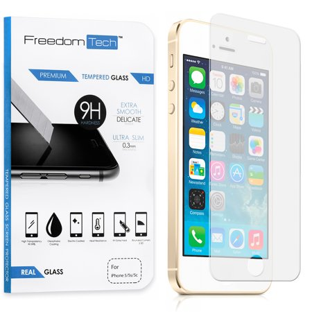 Freedomtech iPhone 5C Screen Protector Real Tempered Glass Film LCD Guard ()
