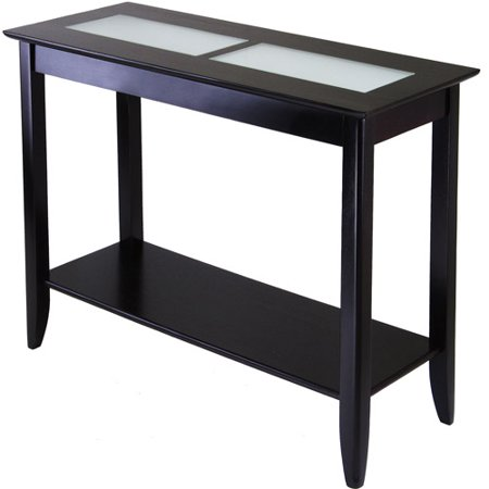Winsome Wood Syrah Console Table with Frosted Glass Top, Espresso Finish (Sofa Table Glass And Wood)