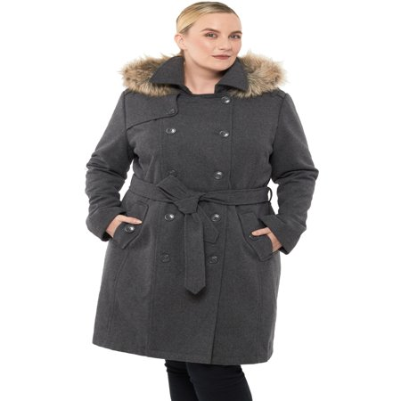 Alpine Swiss Womens Parka Trench Pea Coat Belt Jacket Fur Hood Reg & Plus