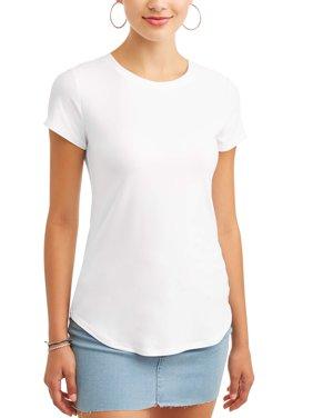 Juniors' Brushed Short Sleeve Round Neck T-Shirt