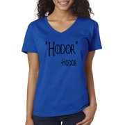 eafbeef98 Trendy USA 273 - Women's V-Neck T-Shirt Hodor Hold The Door Game