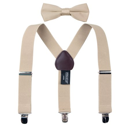Spring Notion Boys' Suspenders and Solid Color Bowtie Set](Thin Red Tie)