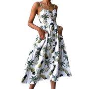 eca761912753b Women Holiday Strappy Floral Maxi Dresses Summer Beach Party Midi Swing  Sundress