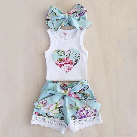 3PCS Toddler Kids Baby Girls T-shirt Vest Tops+Pants Outfits Summer Clothes Set 12-18