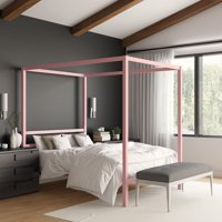 RealRooms Jasmine Metal Canopy Modern Bed Frame, Multiple Colors and Sizes
