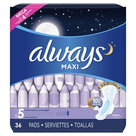 ALWAYS Maxi Size 5 Extra Heavy Overnight Pads With Wings Unscented, 36 -